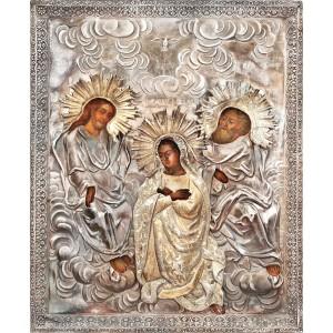 """Icoană pictată pe lemn, """"Încoronarea Maicii Domnului"""", Sankt Petersburg, datată 1836, cu ferecătură din argint"""