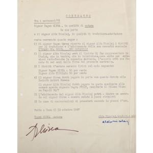 Contract între dramaturgul Eugen Mirea și dramaturgul italian Aldo Nicolaj, cu privire la împărțirea dreptului de autor, purtând semnăturile olografe ale celor doi
