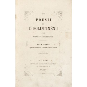 """""""Poesii"""", de Dimitrie Bolintineanu, Bucureşti, 1865, 2 volume"""