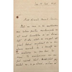 Scrisoare a chimistului Petru Poni, purtând semnătura olografă