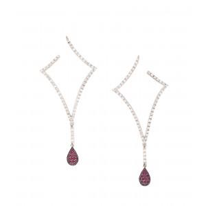 Frumoasă pereche de cercei Roberto Coin, decorată cu diamante și rubine