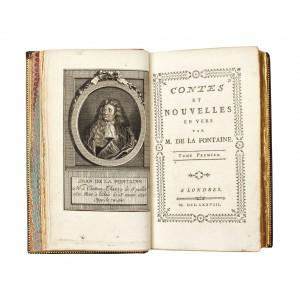 """""""Opere de Fontaine"""", Londra, 1778, 4 volume, legături de lux Trautz-Bauzonet, conţine ex-librisul baronului Sosthène de La Roche-Lacarelle"""