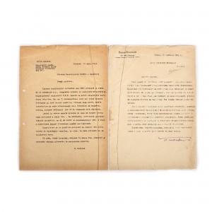Scrisoare dactilografiată a scriitorului sovietic Boris Polevoi, unul dintre primii denunțători ai Auschwitzului, purtând semnătura olografă