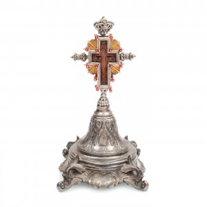 Cruce de altar, cu montură din argint și metal argintat, sec. XIX
