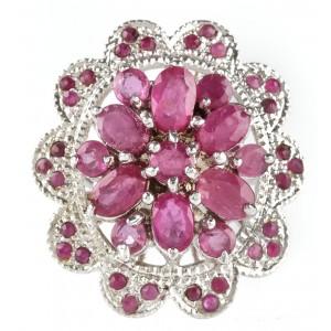 Opulent inel din argint, ornat cu rubine