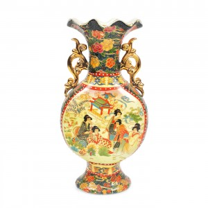 Vas decorativ din portelan, model extrem-oriental