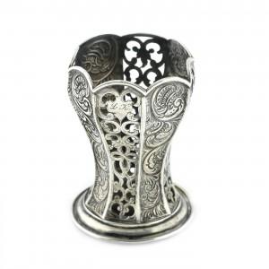 Frumos pahar din argint, cu traforatii și repoussage, a doua jumătate a sec XIX