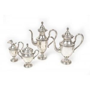 Lot format din patru recipiente din argint, pentru cafea