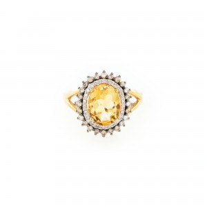 Inel din aur, ornat cu citrine și diamante