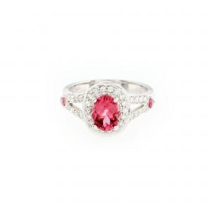 Inel din aur, decorat cu turmalină și diamante