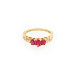 Inel din aur, ornat cu rubine și diamante