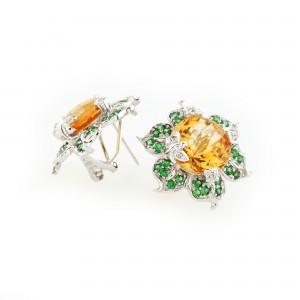 Pereche de cercei din aur alb - flori de citrine, tsavorite şi diamante