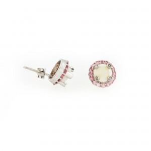 Pereche de cercei, ornată cu opale, diamante şi turmaline