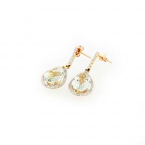 Pereche de cercei din aur, ornată cu prasiolite și diamante