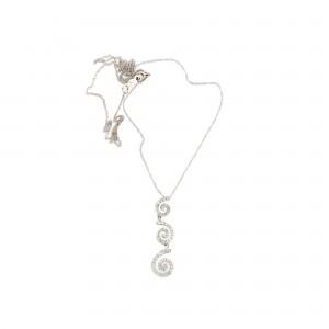 Lanț cu pandantiv din aur alb, decorat cu diamante