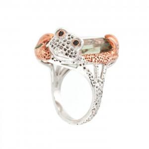 Inel din argint, decorat cu prasiolit şi broscuţă stilizată