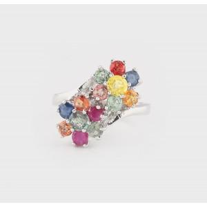 Inel cu safire multicolore