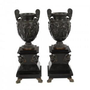 Pereche de urne Historiste, din bronz și marmură