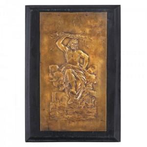 """""""Focul"""" - placă decorativă realizată de Eugène Delaplanche, din bronz, sfârșitul sec. XIX"""