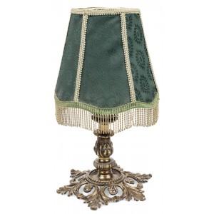 Lampă cu picior din bronz şi abajur din material textil, începutul sec. XX