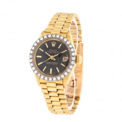 Ceas Rolex DateJust, de mână, de damă, din aur, cu bezelul decorat cu diamante