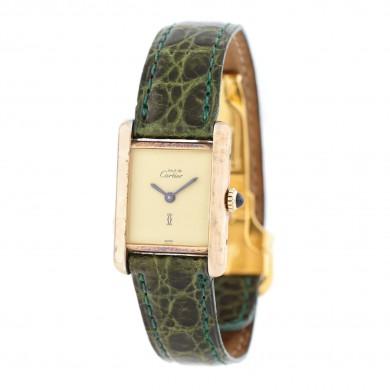 Ceas Must de Cartier, de mână, de damă, din argint aurit