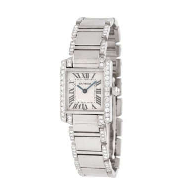Ceas Cartier Tank Française, de mână, de damă, din aur alb, decorat cu diamante