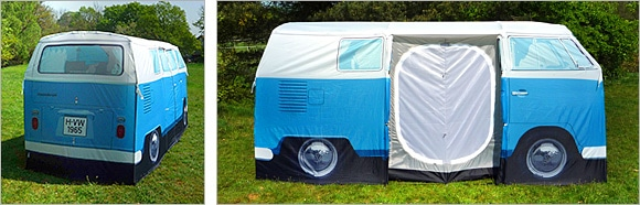 Camper van tent side view