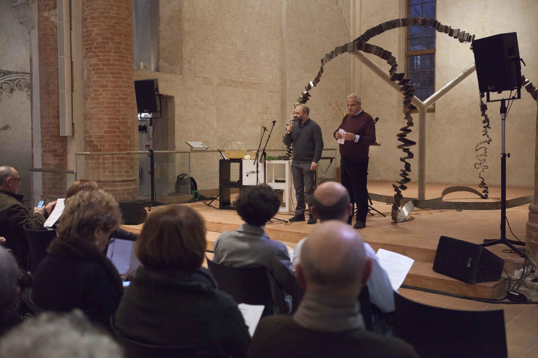 Il compositore Gianluca Verlingieri con il Presidente della Fondazione CRC Giandomenico Genta