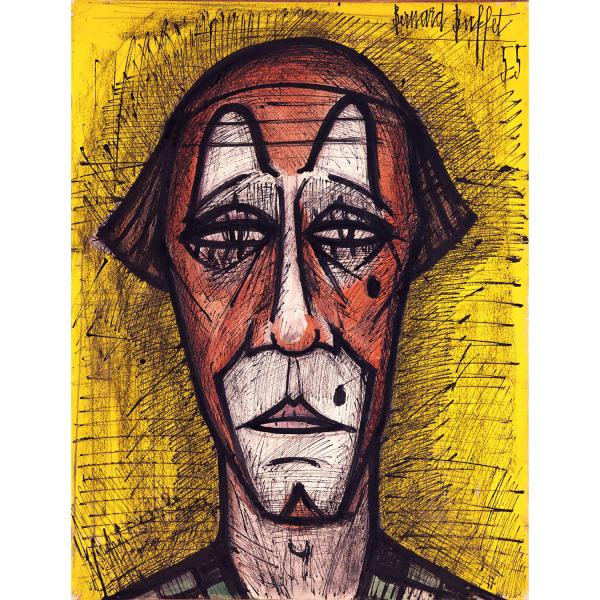 BERNARD BUFFET (1928-1999)  - Tête de clown, 1955  - Technique mixte sur papier [...]