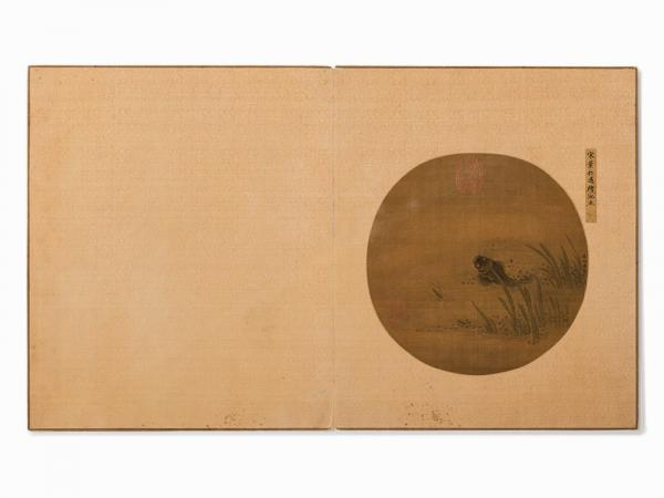 Album Leaf, Painting of Fish in Pond, Song Style, Qing