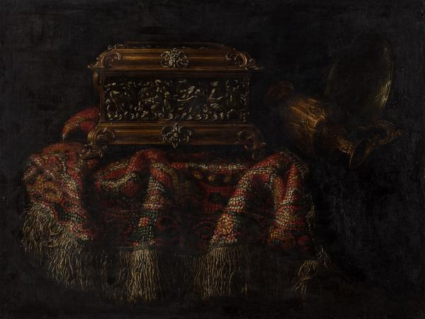 Francesco Noletti, Still Life with Carpet and Chest, 17th C.