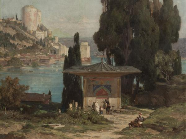 Jules Laurens, Rumelische Festung am Bosporus, Oil, 19th C.