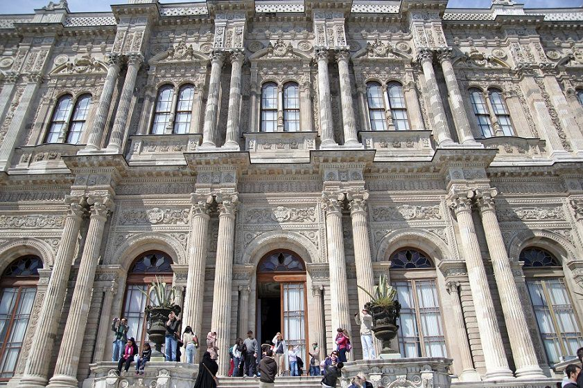 Dolmabahce palace from court