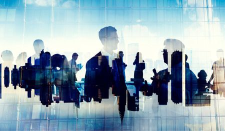 41343374 - business people silhouette working cityscape teamwork talking discussion