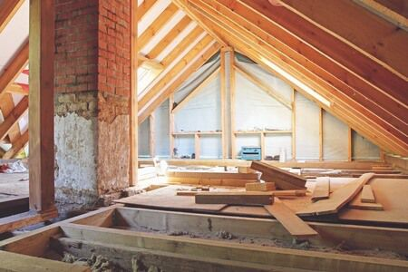 43462628 - an interior view of a house attic under construction