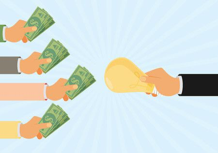 59587967 - crowdfunding, investing into ideas, funding project by raising monetary contributions, venture capital flat design colorful vector illustration concept