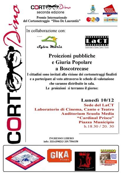 """Corto Dino a Boscotrecase - Premio Internazionale del Cortometraggio """"Dino De Laurentiis"""""""