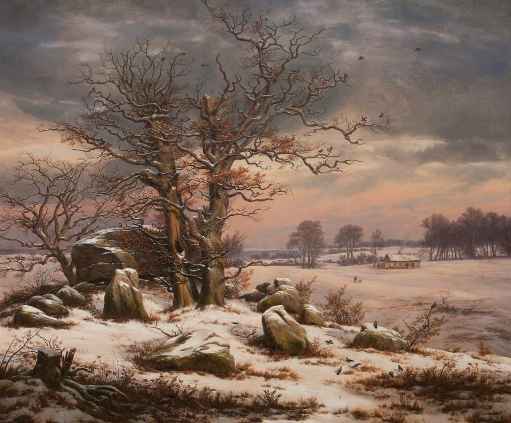 J.C. Dahl: Vinterlandskab ved Vordingborg, 1829