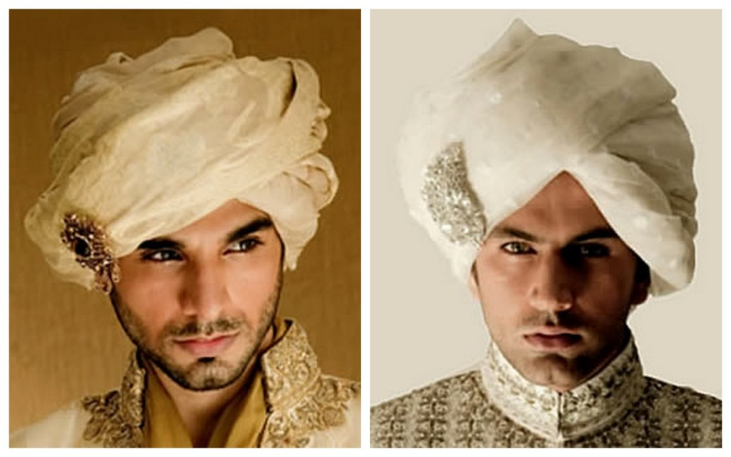 traditional turban with kundan brooch for the groom : styling wedding tip