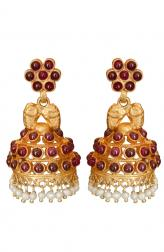 Indian Accessories Designers - Roopa Vohra - Indian Designer Jewellery - Designer Earrings - RV-SS14-RVSE-568 ZM000 - Stunning Semi-Precious Rubies and Pearls Jhumkas - 1