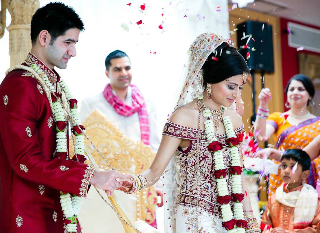 White and maroon - Indian Wedding