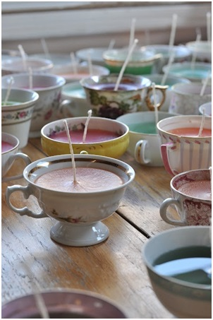 Wedding Favours - Candle in a Vintage Cup