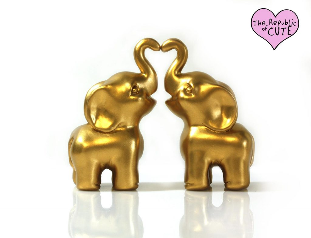 Golden Elephants Cake Topper