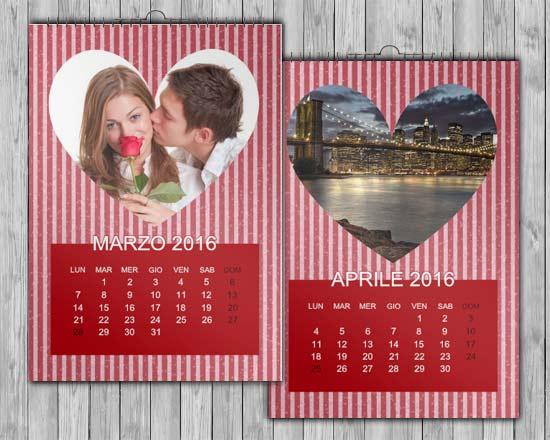 calendario personalizzato san valentino