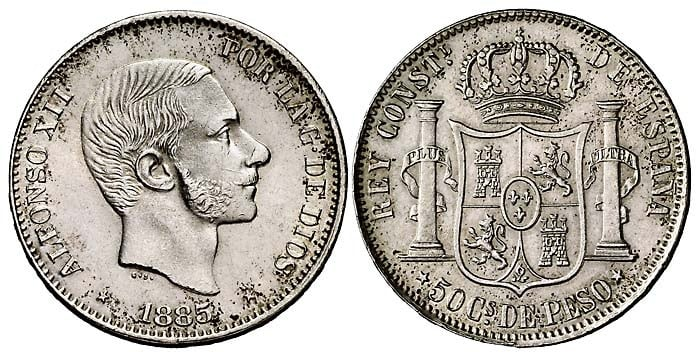 Filipinas 50 centavos de peso 1885