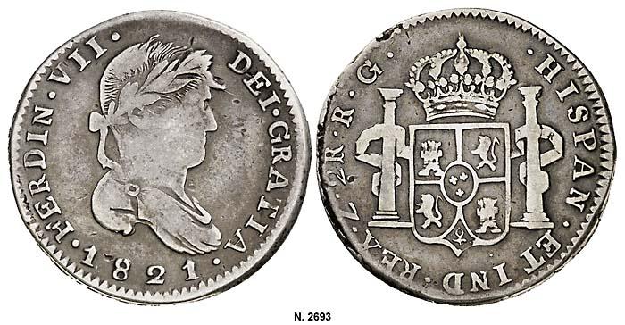 2 reales Zacatecas 1821