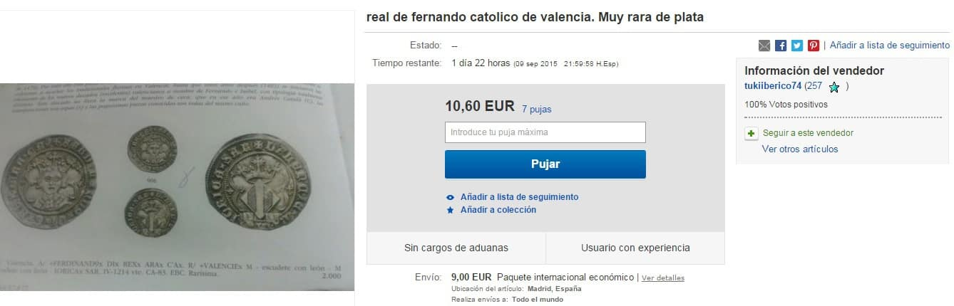 moneda falsa en eBay