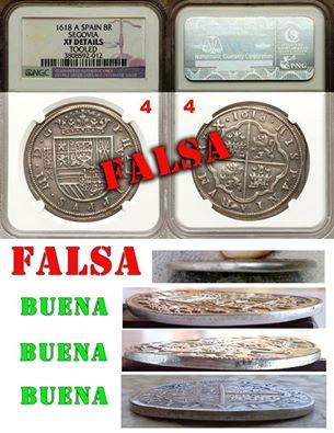 monedas de Segovia auténticas y falsas