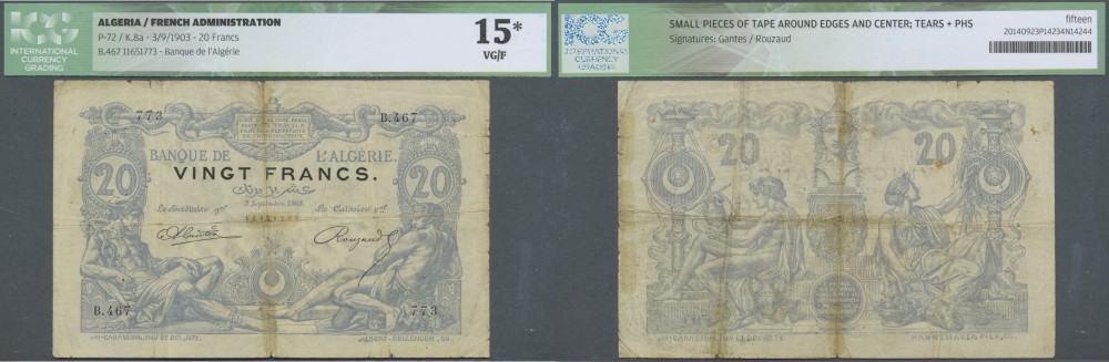 Algeria: 20 Francs 1903